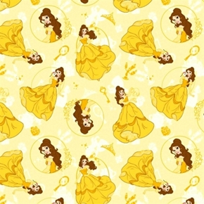 Disney Princess Belle Beauty And The Beast Yellow Cotton Fabric