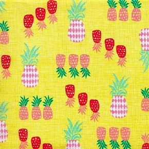 Picture of Beach Babe Decorated Pineapples Pineapple Yellow Cotton Fabric