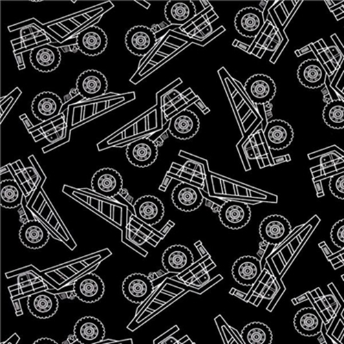 Cotton fabric childrens fabric under construction dump for Black and white childrens fabric