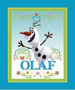 Disney Frozen Olaf Dancing Turquoise Large Cotton Fabric Panel