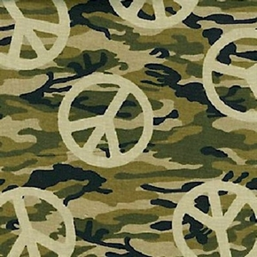 Peace Signs On Camouflage Army Camo Green Brown Cotton Fabric