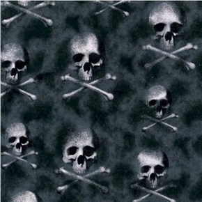 Skeleton Skulls Crossbones Ghostly Bones Glitter Black Cotton Fabric
