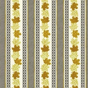 Picture of Maple Stories Brown Gold Maple Leaves in Stripes Cotton Fabric