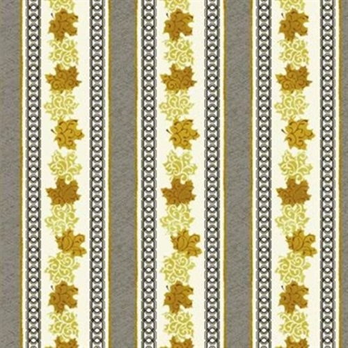 Maple Stories Brown Gold Maple Leaves In Stripes Cotton Fabric