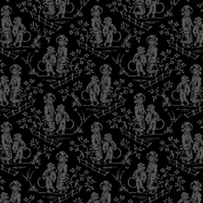 Picture of French Laundry Children Grey on Black Victorian Toile Cotton Fabric