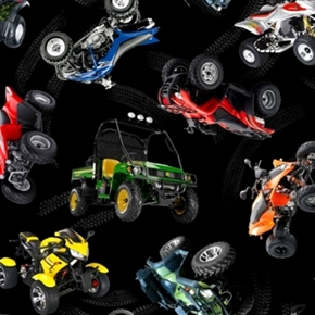 In Motion Colorful Atvs And Tire Tracks Black Cotton Fabric