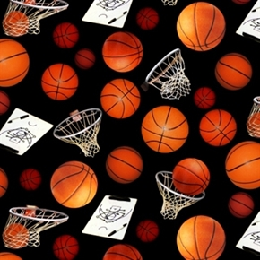 Sports Basketball Hoops And Basketballs Black Cotton Fabric