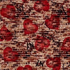 Picture of New York State of Mind I Heart NY Graffiti on Brick NYC Cotton Fabric