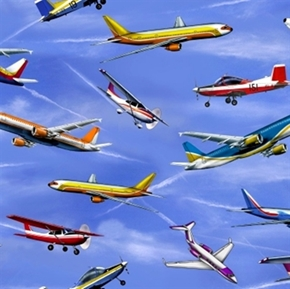 In Motion Airplanes Planes Flying In The Sky Cotton Fabric