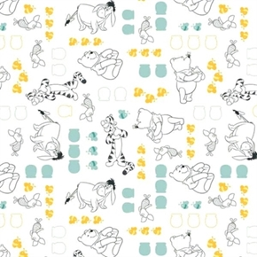 Disney Winnie The Pooh With Characters On White Cotton Fabric