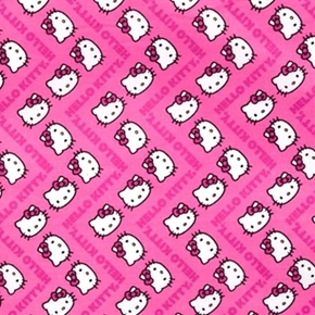 Hello Kitty Chevrons Kitty Face And Words Pink Chevron Cotton Fabric