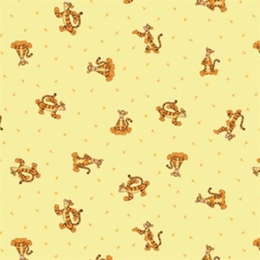 Picture of Disney Winnie the Pooh with Tigger on Yellow Cotton Fabric