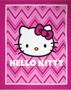 Hello Kitty Chevron Pink Chevrons Large Cotton Fabric Panel