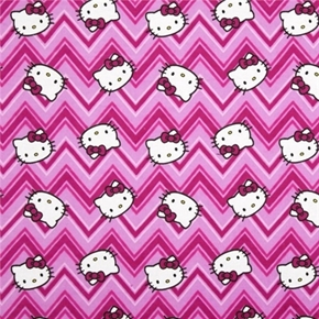 Picture of Flannel Hello Kitty Chevrons Kitty Face Pink Chevron Cotton Fabric