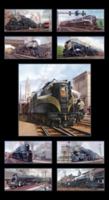 Picture of All Aboard Locomotive Railroad Trains 24x44 Large Cotton Fabric Panel