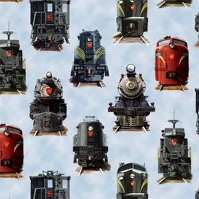 All Aboard Locomotive Railroad Trains Train Engine Blue Cotton Fabric
