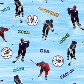 Sports Collection Ice Hockey Face Off Shoot Score Goal Cotton Fabric