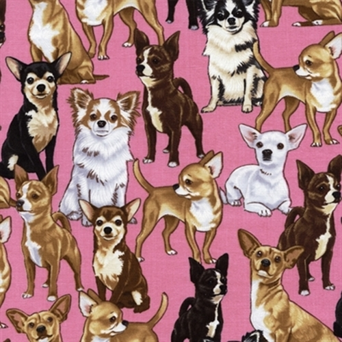 Chihuahua Dogs Puppy Dog Pink Cotton Fabric