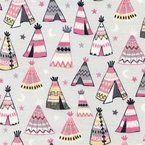 Teepees Pink And Grey Indian Teepee Tents Cotton Fabric