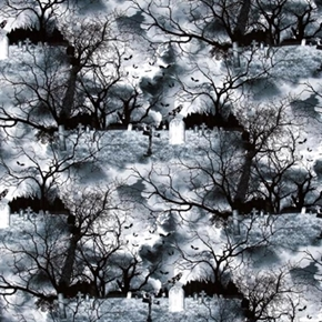 Wicked Graveyard Spooky Halloween Tombstones Bats Crows Cotton Fabric