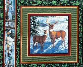 Winters Eve Two Deer Buck Doe In The Snow Cotton Fabric Pillow Panel