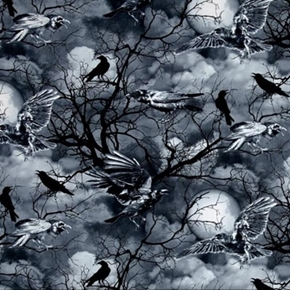 Wicked Halloween Night Spooky Ravens And Crows Cotton Fabric