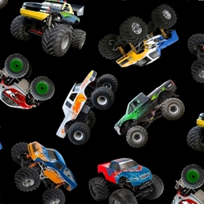 In Motion Monster Trucks All Over Black Cotton Fabric