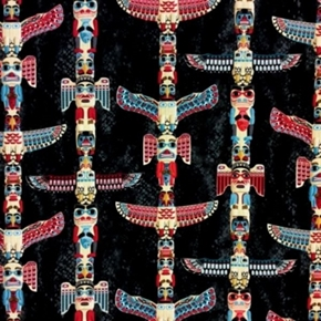Totem Pole Native American Artifacts Charcoal Cotton Fabric