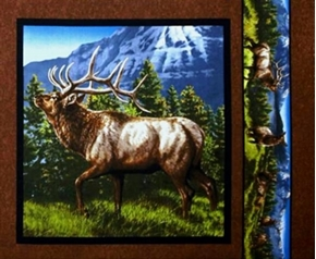 Picture of Elkmont Ridge Bull Bugling 1 Mountain Peak Cotton Fabric Pillow Panel