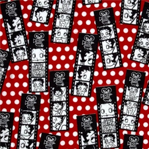 Flannel Betty Boop Movie Filmstrips And Polka Dots Red Cotton Fabric