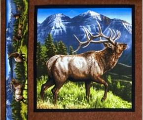 Picture of Elkmont Ridge Bull Bugling 2 Mountain Peak Cotton Fabric Pillow Panel