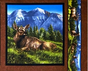 Picture of Elkmont Ridge Female Elk Laying Down Cotton Fabric Pillow Panel