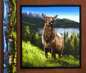 Elkmont Ridge Female Elk Standing Cotton Fabric Pillow Panel