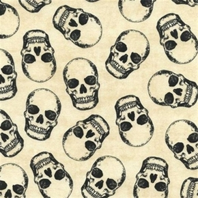 Skeleton Skulls With Metallic Accents Cream Cotton Fabric