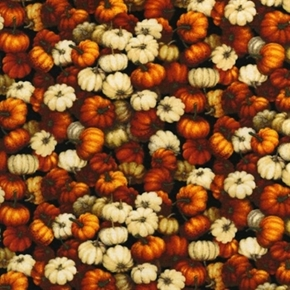 Autumn Romance Small Fall Pumpkins And Gourds Cotton Fabric