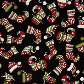Holly Jolly Christmas Stockings And Holiday Hats Black Cotton Fabric