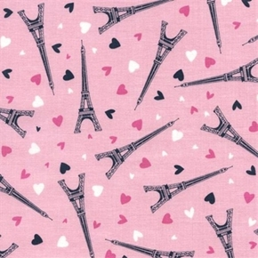Eiffel Tower Toss Paris Travel Hearts Pink Cotton Fabric