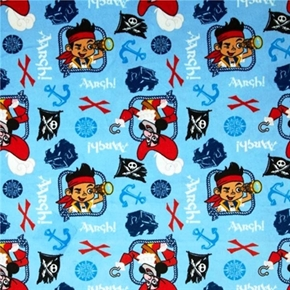 Flannel Disney Jake And The Treasure Chest Hook Blue Cotton Fabric