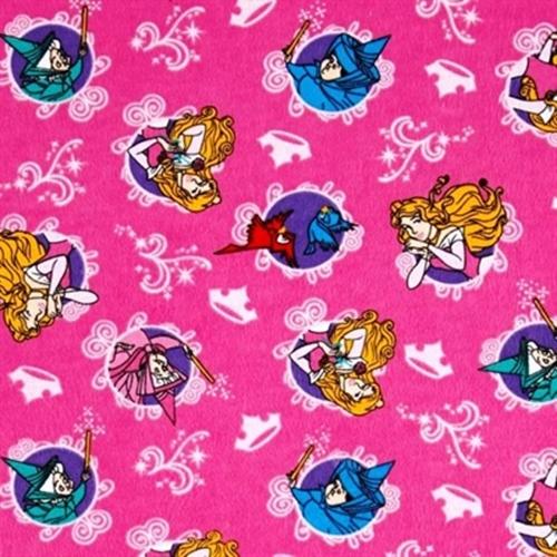 Flannel Disney Sleeping Beauty Character Badge Pink Cotton Fabric