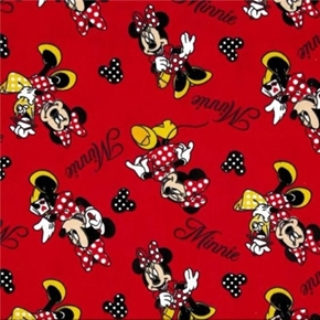 Flannel Disney Minnie Shopping Minnie Mouse Red Cotton Fabric
