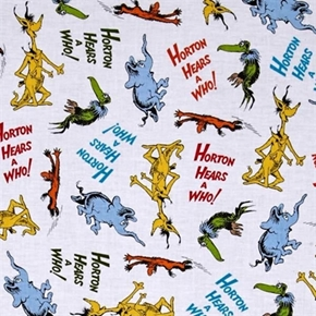 Horton Hears a Who Dr Seuss Character Toss White Cotton Fabric