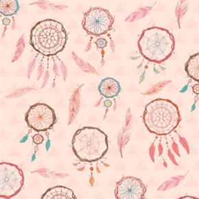 Picture of Dream Catchers and Feathers Native American Pink Cotton Fabric