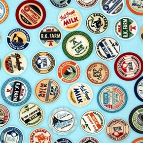 Picture of Down on the Farm Milk Caps Dairy Labels Aqua Blue Cotton Fabric