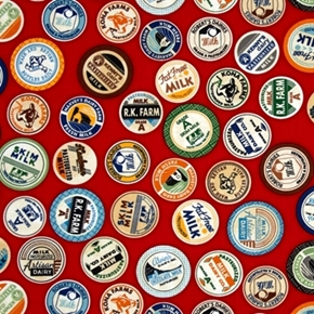 Picture of Down on the Farm Milk Caps Dairy Labels Red Cotton Fabric