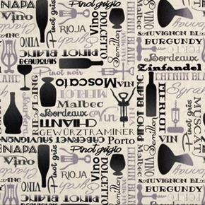 Picture of Over A Barrel Wine Names Bottles Cork Screws Cream Cotton Fabric