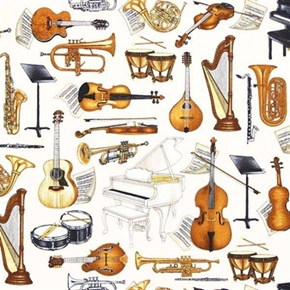 Perfect Pitch Musical Instruments Cello Harp Horns Cotton Fabric