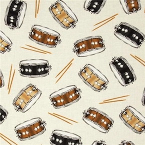 Picture of In Tune Drum Musical Instruments Snare Drums on Cream Cotton Fabric