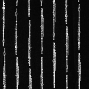 Picture of In Tune Flute Musical Instruments Silver Flutes Black Cotton Fabric