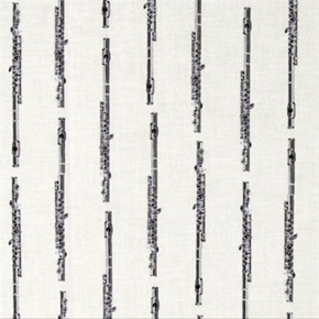 Picture of In Tune Flute Musical Instruments Silver Flutes Cream Cotton Fabric
