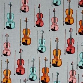 Perfect Pitch Violin Musical Instruments Violins Grey Cotton Fabric